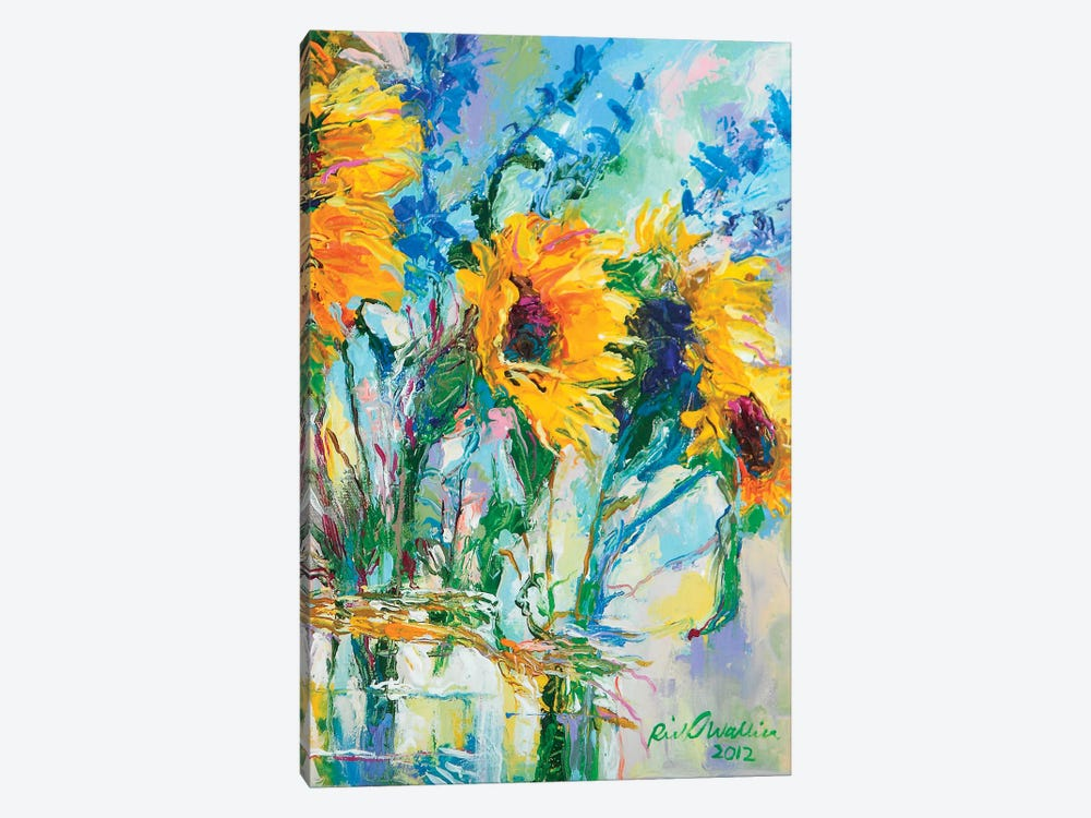 Sunflowers In Glass Bottles by Richard Wallich 1-piece Art Print