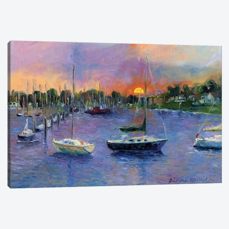Wickford At Dusk Canvas Print #RWA193} by Richard Wallich Canvas Wall Art