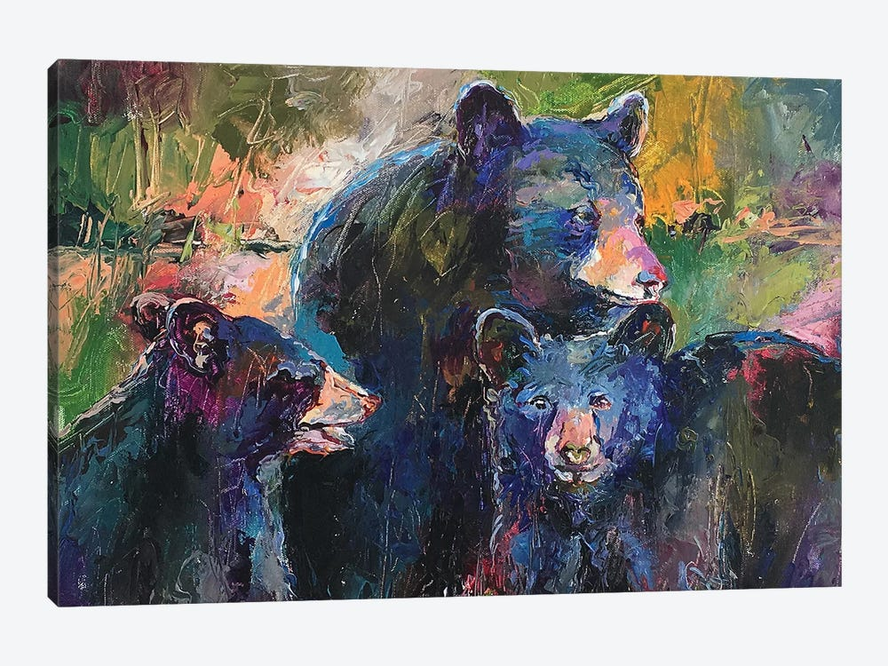 Art Bear Family 1-piece Canvas Artwork