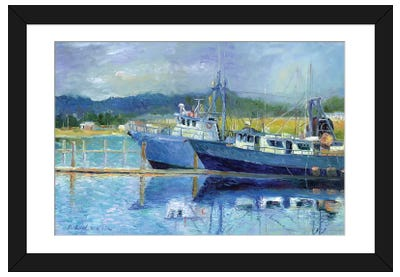 Fishing Boats On Oregon Coast I Framed Art Print