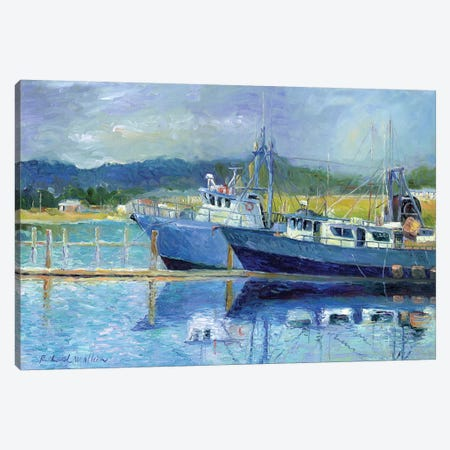 Fishing Boats On Oregon Coast I Canvas Print #RWA48} by Richard Wallich Canvas Artwork