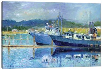 Fishing Boats On Oregon Coast I Canvas Print #RWA48