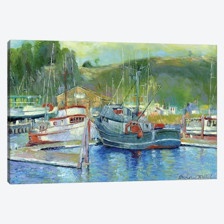 Fishing Boats On Oregon Coast II Canvas Print #RWA49} by Richard Wallich Canvas Artwork