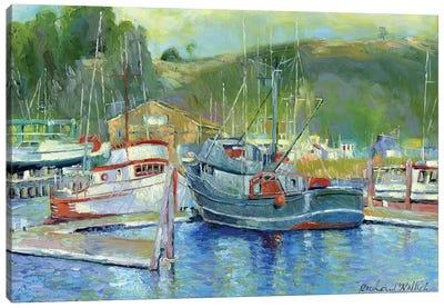 Fishing Boats On Oregon Coast II Canvas Print #RWA49