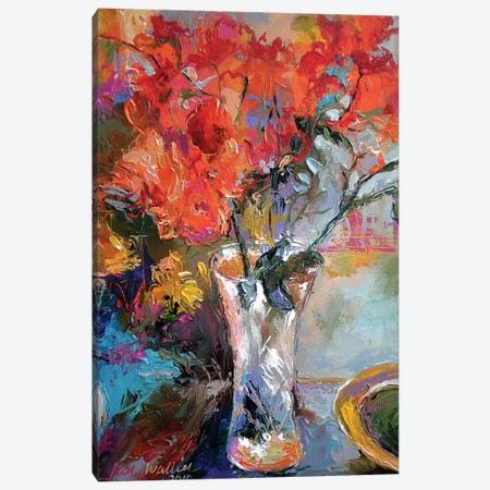 Flowers In Vase Canvas Print #RWA54} by Richard Wallich Canvas Artwork