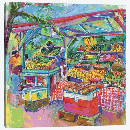Fruit Market Canvas Print #RWA61} by Richard Wallich Canvas Wall Art