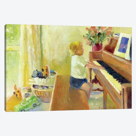 Grant Playing The Piano Canvas Print #RWA74} by Richard Wallich Canvas Art