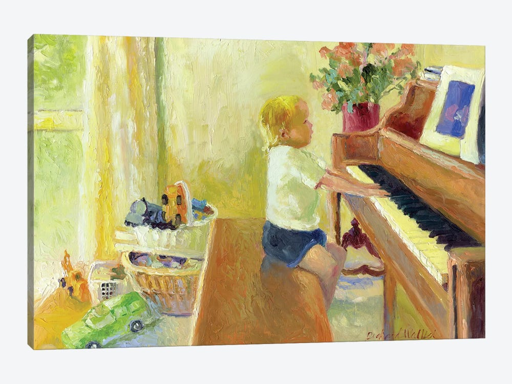 Grant Playing The Piano by Richard Wallich 1-piece Canvas Print