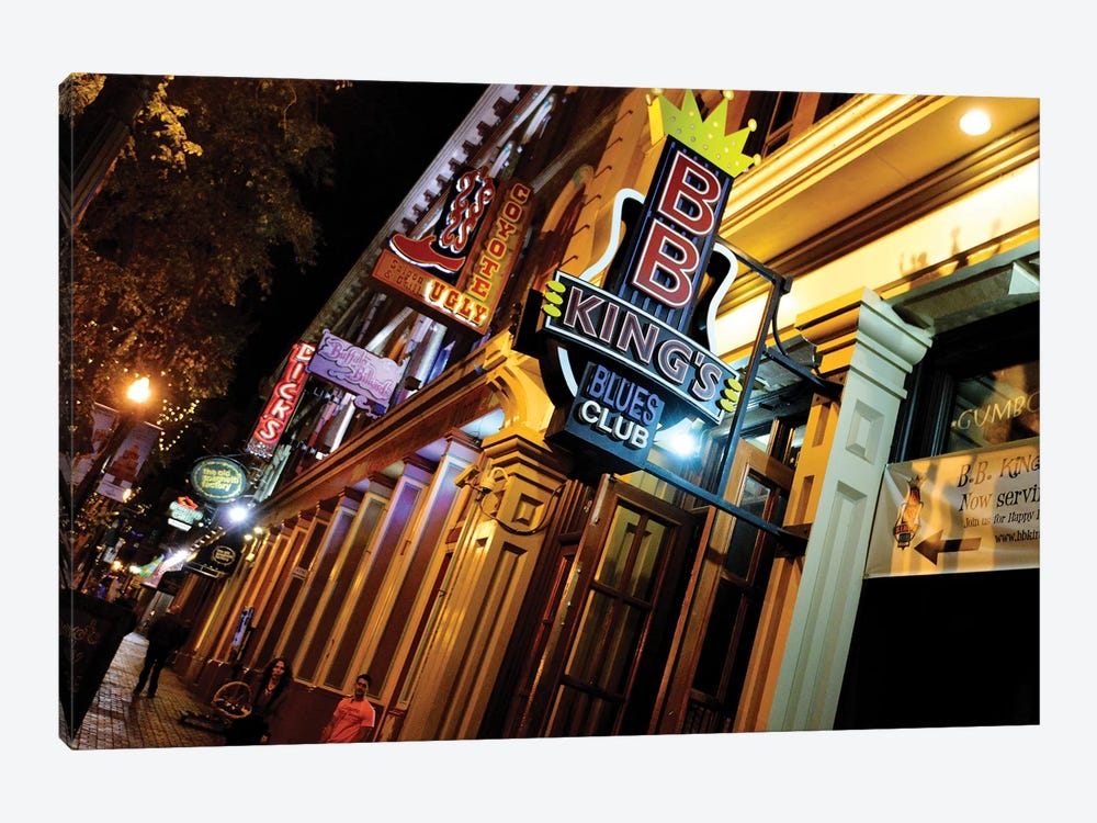 Neon Signs Along 2nd Avenue, The DISTRICT, Nashville, Davidson County, Tennessee, USA by Richard Wright 1-piece Canvas Artwork
