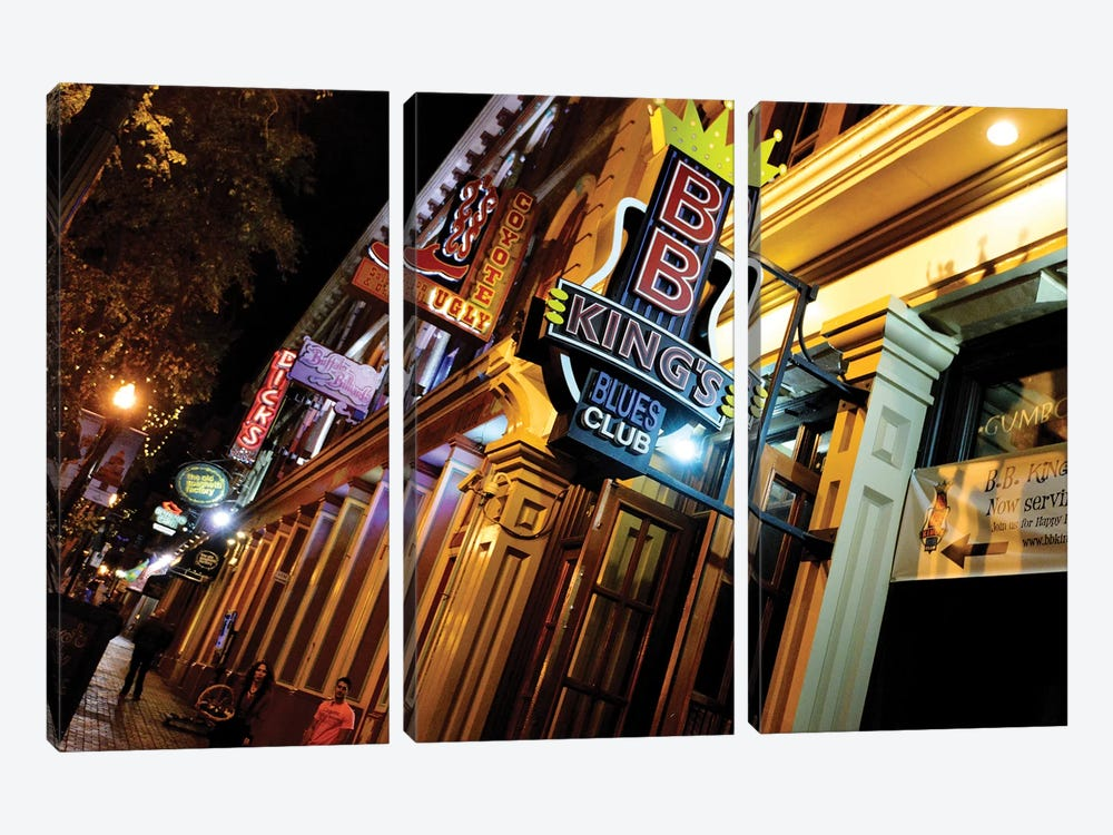 Neon Signs Along 2nd Avenue, The DISTRICT, Nashville, Davidson County, Tennessee, USA by Richard Wright 3-piece Canvas Art
