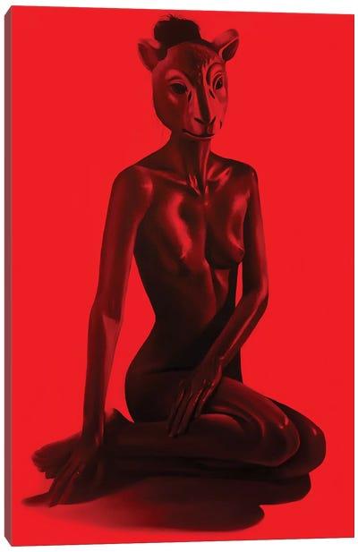 Girl On Red II Canvas Art Print