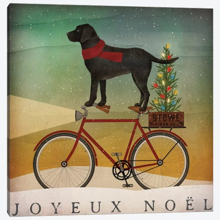 Black Lab on Bike Christmas Canvas Print #RYF1} by Ryan Fowler Canvas Wall Art