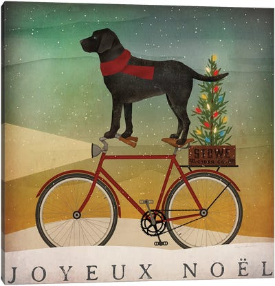 Black Lab on Bike Christmas Canvas Art Print