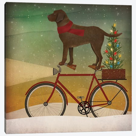 Brown Lab on Bike Christmas Canvas Print #RYF2} by Ryan Fowler Canvas Wall Art