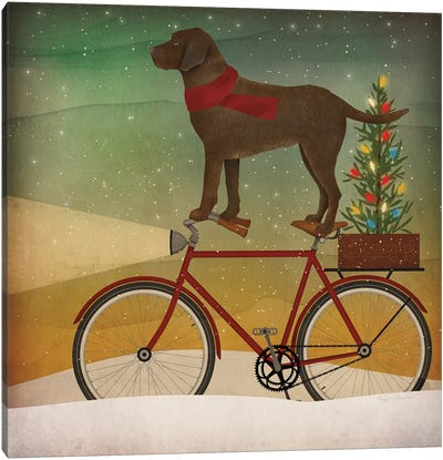Brown Lab on Bike Christmas Canvas Art Print