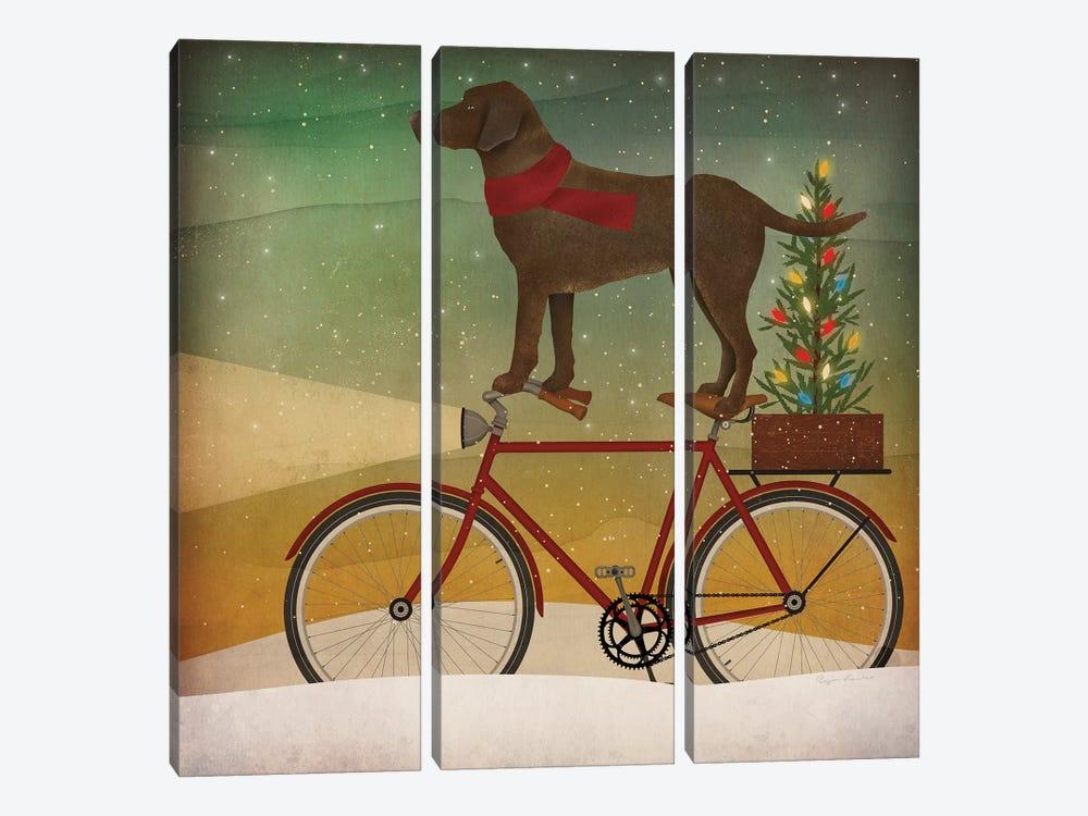 Brown Lab on Bike Christmas by Ryan Fowler 3-piece Canvas Wall Art