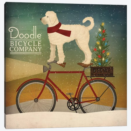 White Doodle on Bike Christmas Canvas Print #RYF3} by Ryan Fowler Canvas Artwork