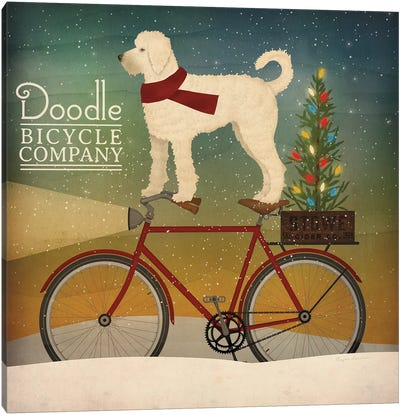 White Doodle on Bike Christmas Canvas Art Print