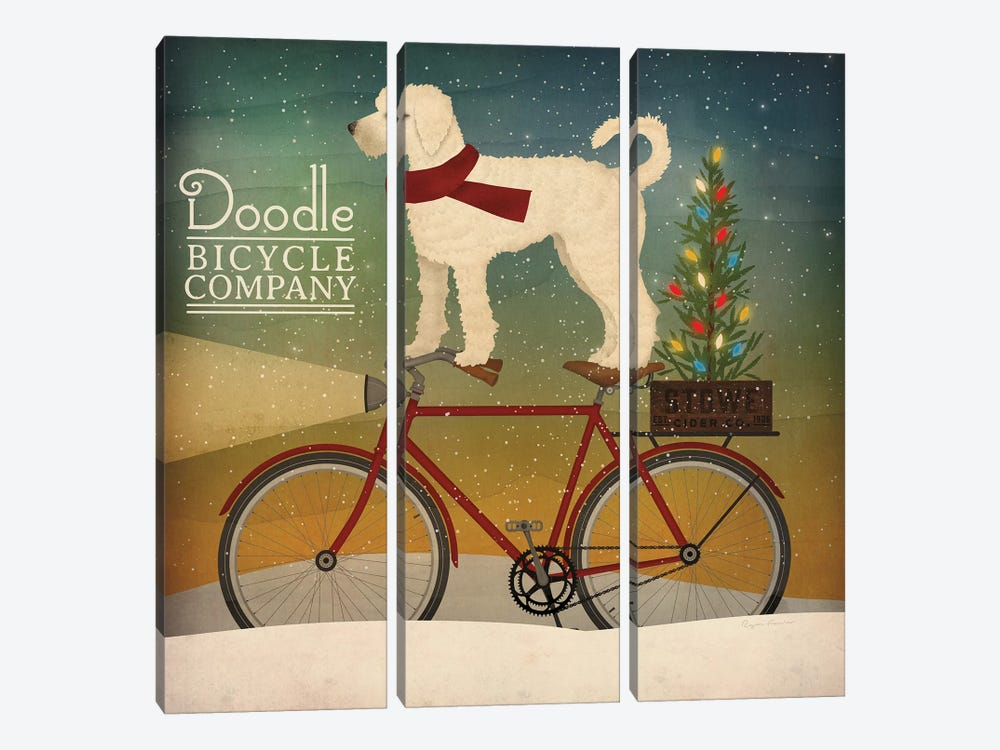 White Doodle on Bike Christmas by Ryan Fowler 3-piece Canvas Print