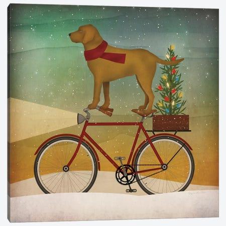 Yellow Lab on Bike Christmas Canvas Print #RYF4} by Ryan Fowler Art Print
