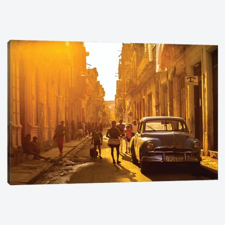 Another Street Scene In Havana Canvas Print #RYG16} by Robin Yong Art Print