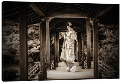 Geisha Sepia Photo Canvas Art Print
