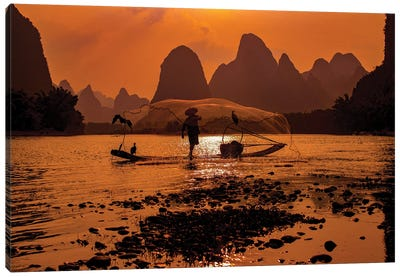 Sunset Fishing Canvas Art Print