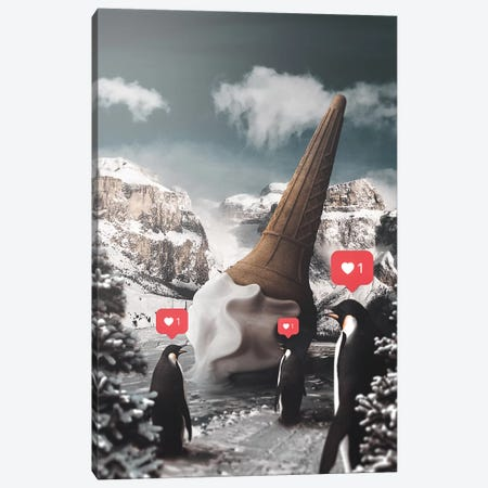 Ice Cream Penguins Canvas Print #RYK39} by Shaun Ryken Canvas Artwork
