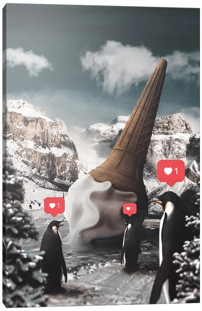 Ice Cream Penguins Canvas Art Print