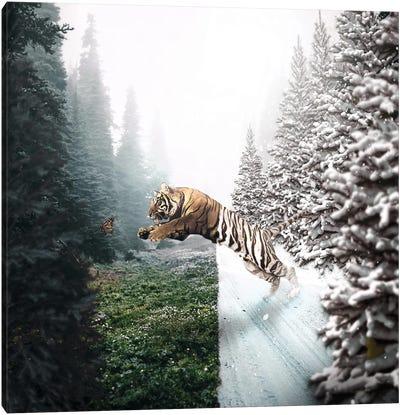 Jumping Tiger Canvas Art Print