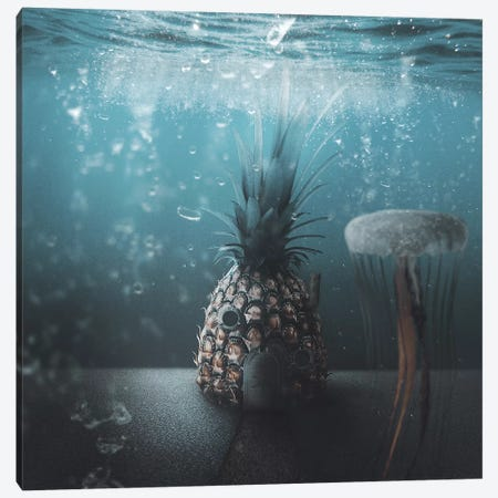 Spongebob Canvas Print #RYK44} by Shaun Ryken Canvas Wall Art