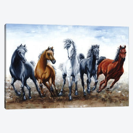 Wild Arabians 3-Piece Canvas #RYO103} by Richard Young Canvas Print