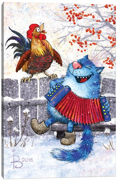 Cat And Rooster Canvas Art Print