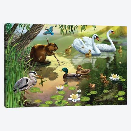 On The Pond Canvas Print #RZN36} by Rina Zeniuk Canvas Art