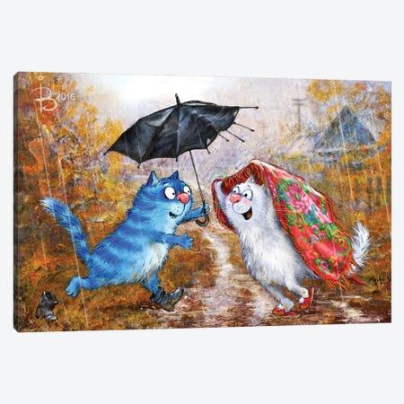 You, Me And An Umbrella Canvas Print #RZN75} by Rina Zeniuk Canvas Artwork