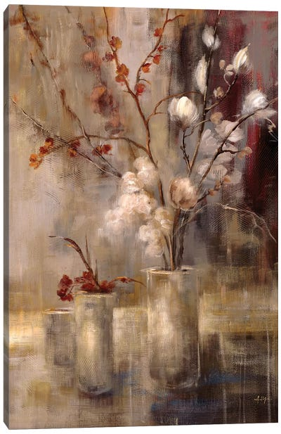 Silver Floral Canvas Art Print