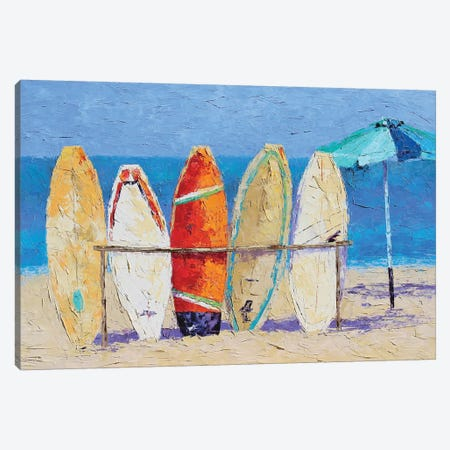 Resting On The Beach Canvas Print #SAE7} by Leslie Saeta Art Print
