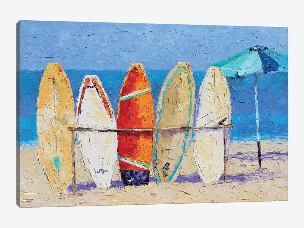 Resting On The Beach by Leslie Saeta 1-piece Canvas Art
