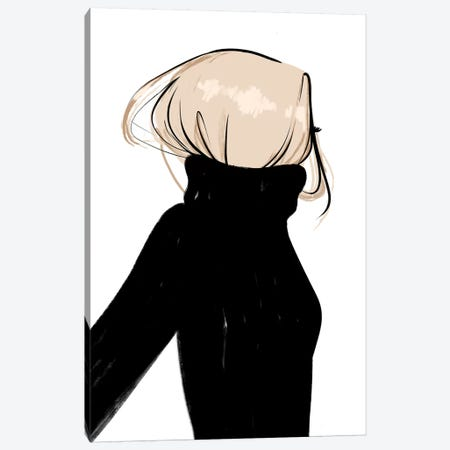 Turtleneck Messy Blonde Hair 3-Piece Canvas #SAF100} by Sabina Fenn Art Print