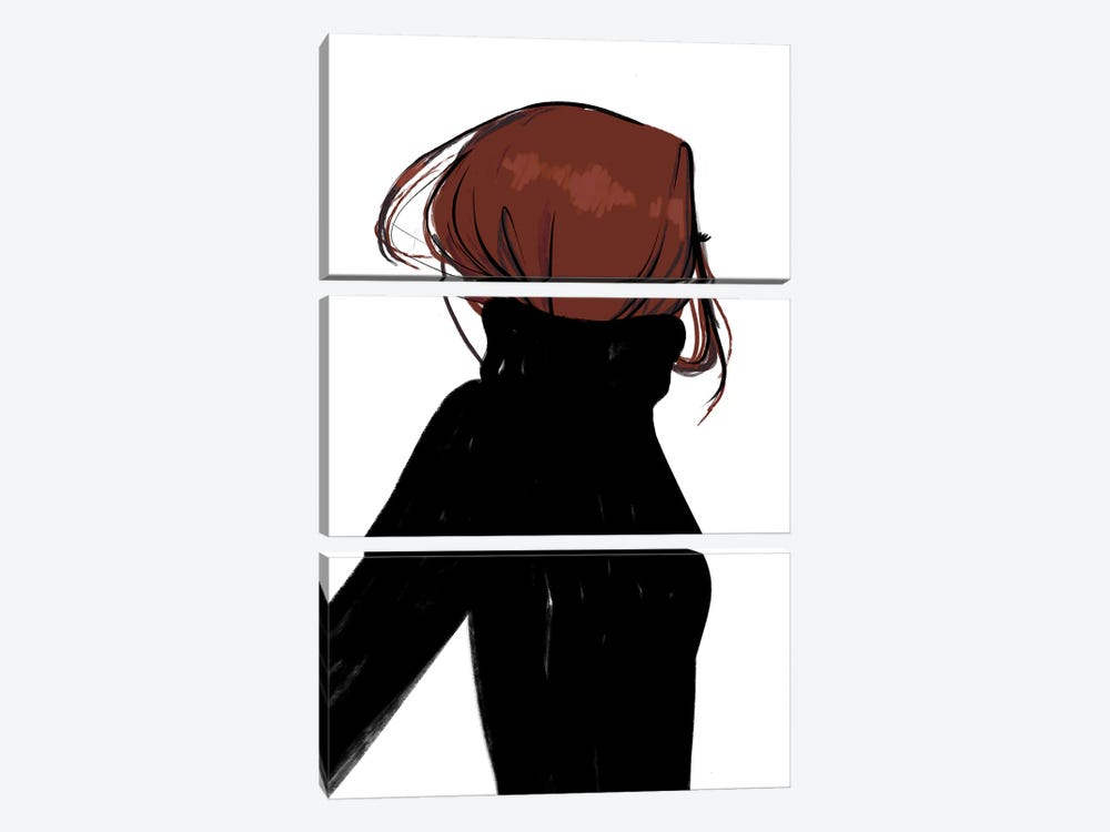 Turtleneck Messy Red Hair 3-piece Canvas Artwork