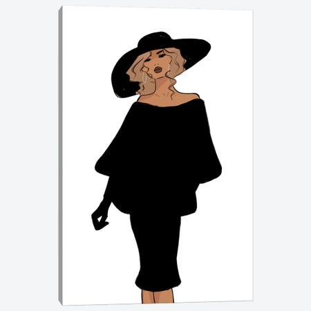 Vintage Inspired So Vogue All Black Canvas Print #SAF108} by Sabina Fenn Canvas Art Print
