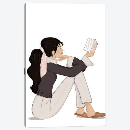Bookworm Chic, Light-Skinned, Black Hair Canvas Print #SAF10} by Sabina Fenn Art Print