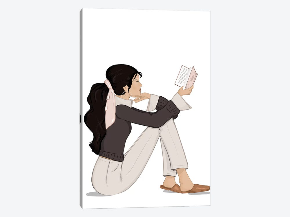 Bookworm Chic, Light-Skinned, Black Hair by Sabina Fenn 1-piece Canvas Print