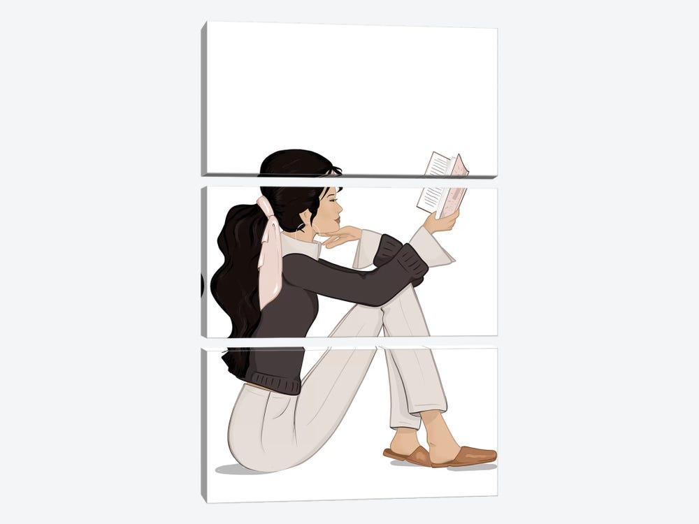 Bookworm Chic, Light-Skinned, Black Hair by Sabina Fenn 3-piece Canvas Print