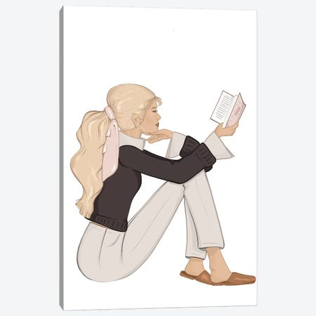 Bookworm Chic, Light-Skinned, Blonde Hair Canvas Print #SAF11} by Sabina Fenn Canvas Print