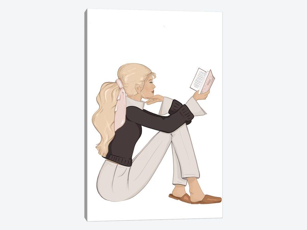 Bookworm Chic, Light-Skinned, Blonde Hair by Sabina Fenn 1-piece Canvas Wall Art