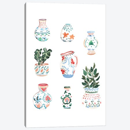Moroccan Pots Canvas Print #SAF126} by Sabina Fenn Canvas Artwork