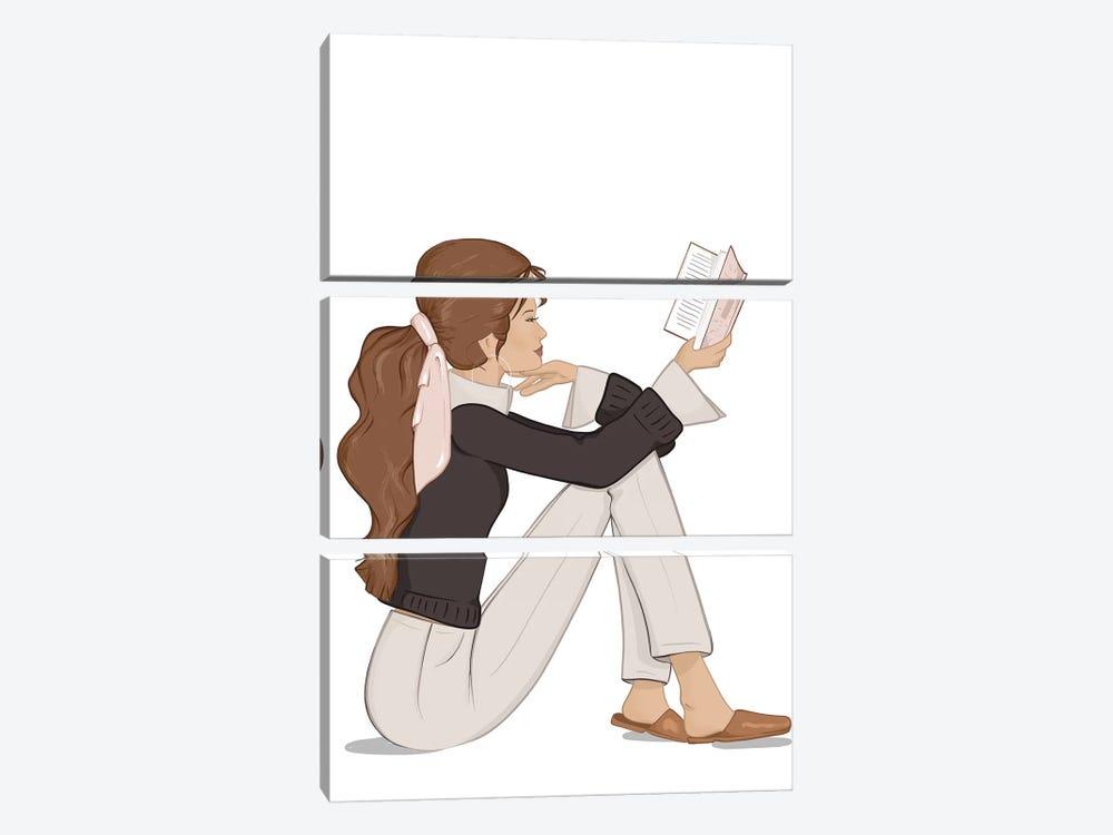 Bookworm Chic, Light-Skinned, Brunette Hair by Sabina Fenn 3-piece Canvas Art Print