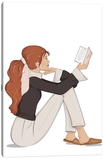 Bookworm Chic, Light-Skinned, Red Hair Canvas Art Print