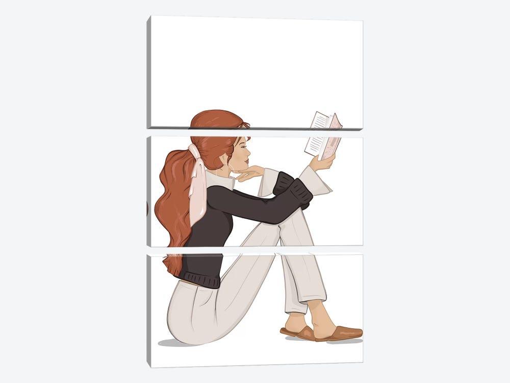 Bookworm Chic, Light-Skinned, Red Hair by Sabina Fenn 3-piece Canvas Art